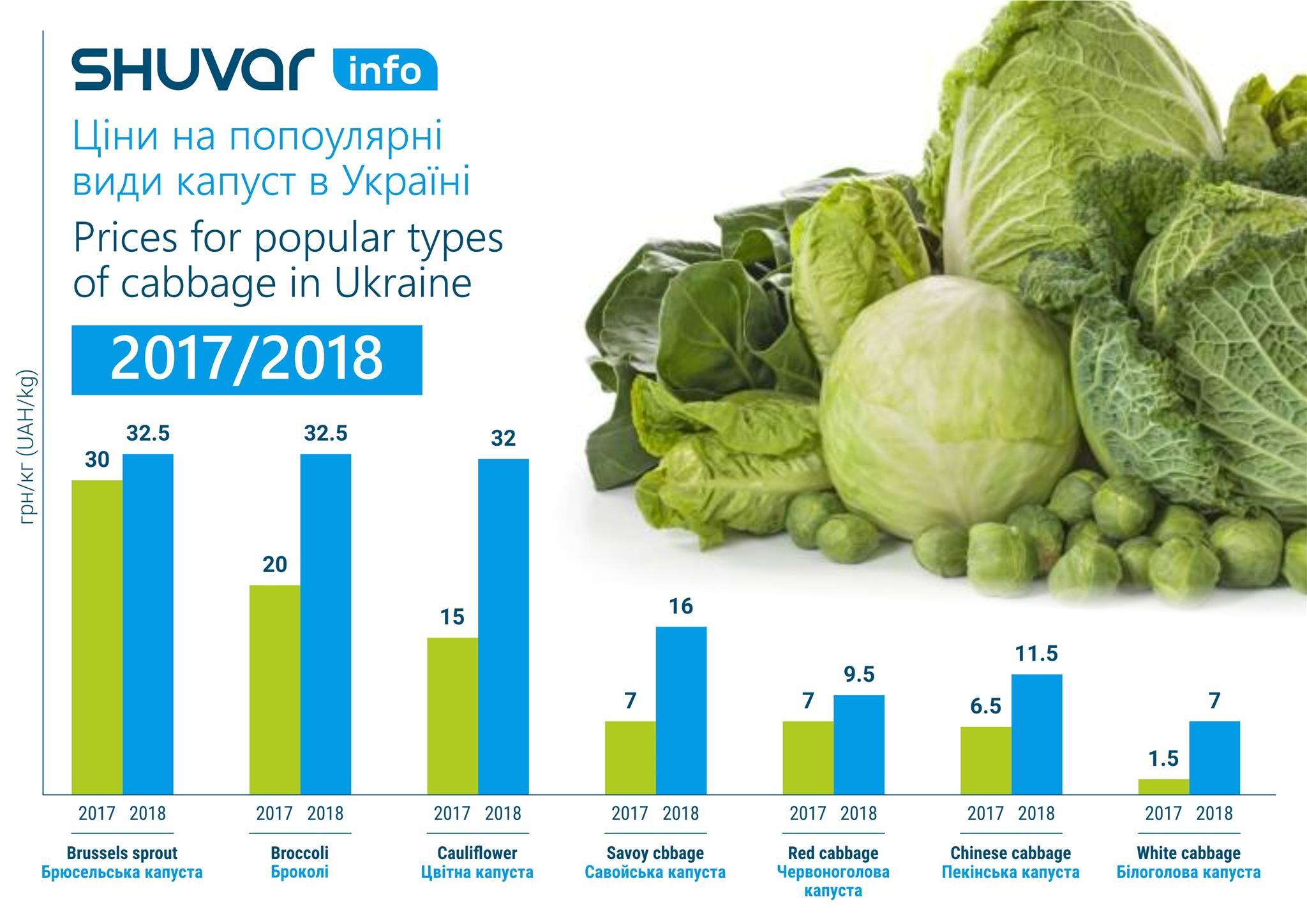 Prices for popular types of cabbage in Ukraine
